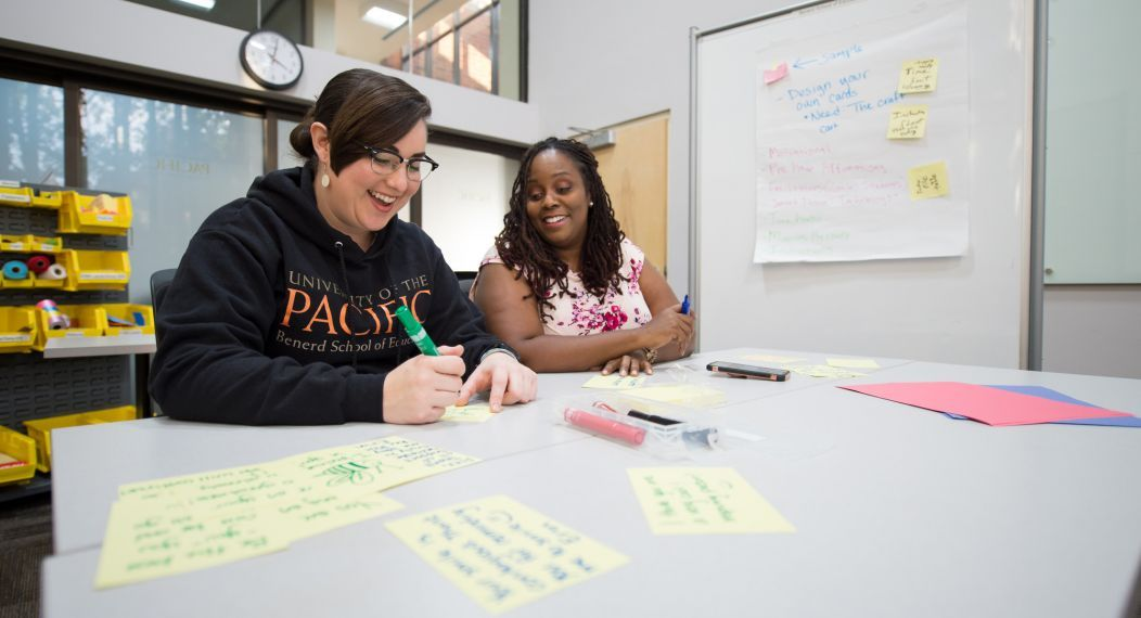 Benerd graduate students work together in the classroom